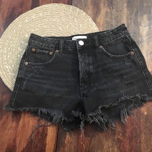 Zara button fly black distressed shorts